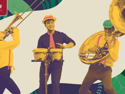 Trombone player, bongo player, and sousaphone player in colorful, tropical style layout. BYU–Hawaii logo included.