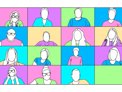 Graphic of boxed with people wearing multicolored shirts with multicolored backgrounds.