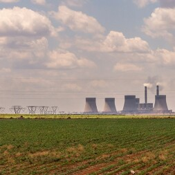 photo of power lines and nuclear power plant