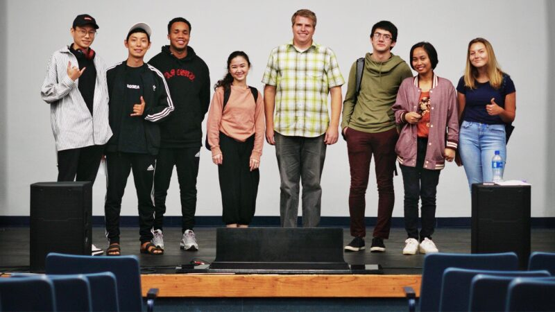 Music Technology students perform music made only with their phones.