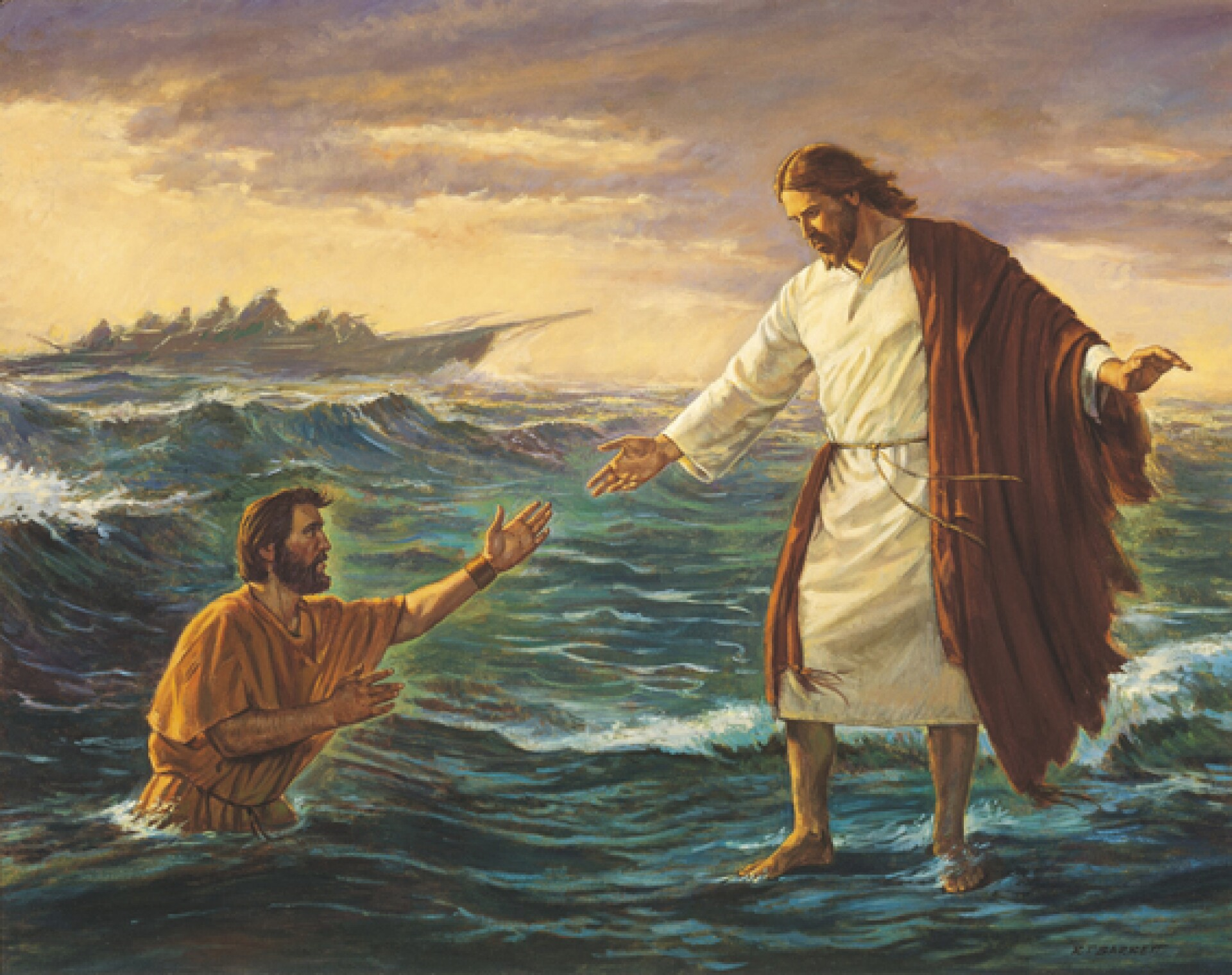 Jesus is walking on the water