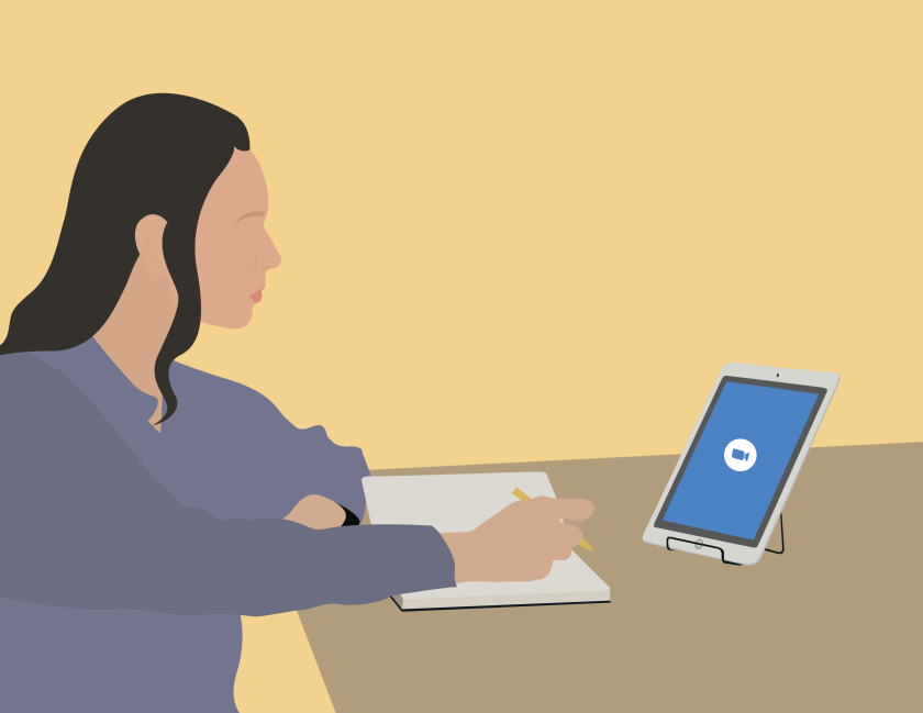 A graphic of a female student studying at a desk in front of an iPad.