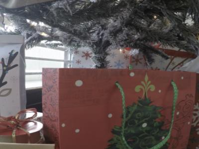 Christmas presents underneath a tree