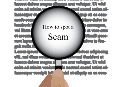 """An illustration of a hand holding a magnifying glass over a letter with the words """"How to spot a Scam."""""""