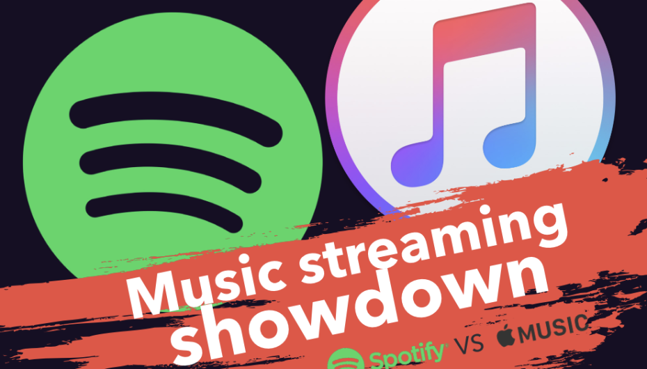 A graphic of Spotify and Apple Music