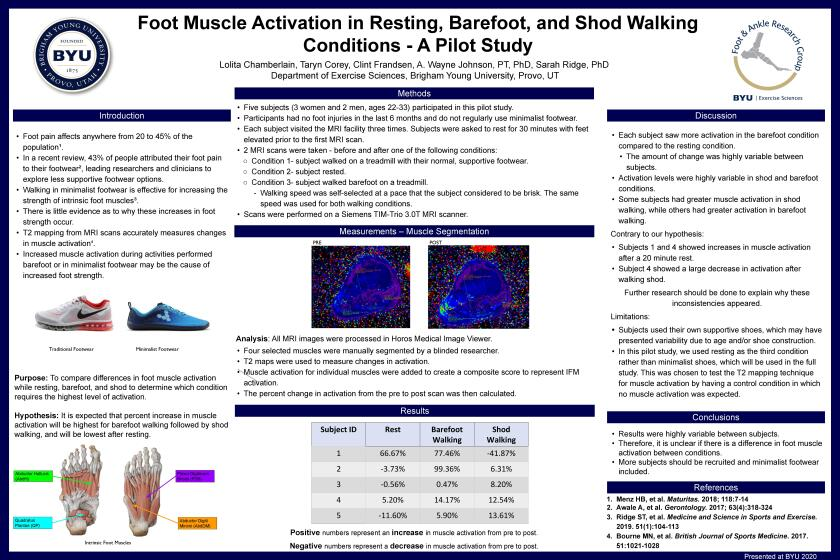 "3rd place research poster, ""Foot Muscle Activation in Resting, Barefoot, and Shod Walking Conditions - A Pilot Study."""