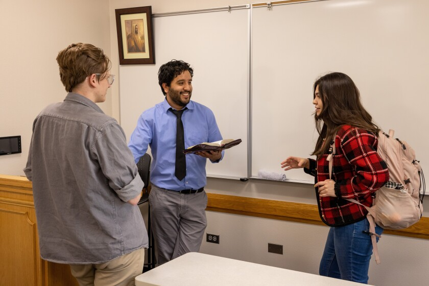 Photo of Daniel Becerra with Students