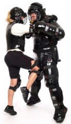 Picture of RAD Student and Aggressor in Knee Strike