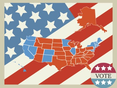 """Graphic of the U.S. states colored as blue and red representing democratic and republican states with a U.S. flag background and sticker saying """"vote."""""""
