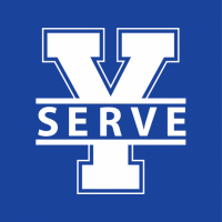 Y-Serve logo - white on royal