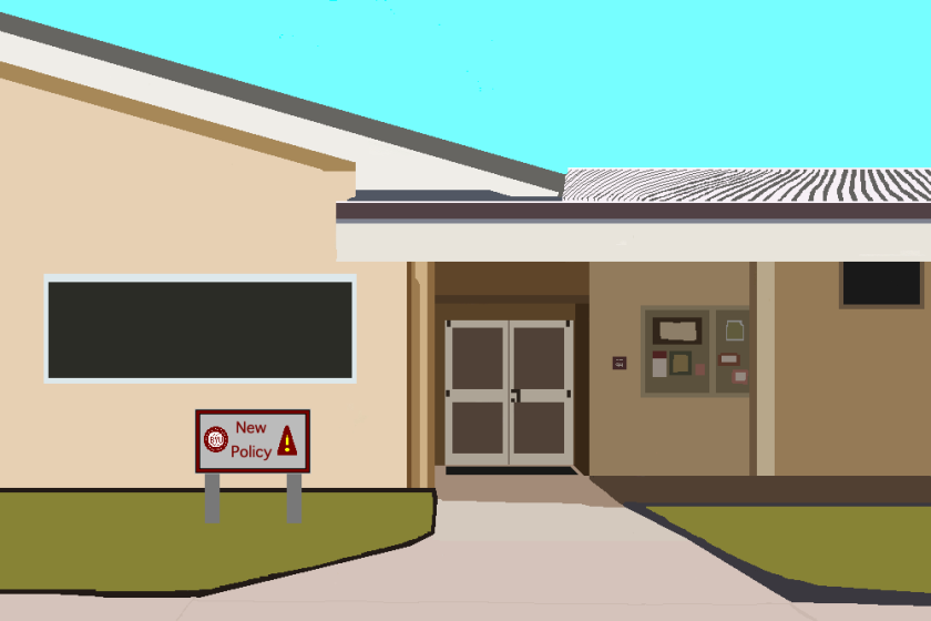 """An illustration of BYUH's Fitness Center with a sign that reads """"New Policy."""""""