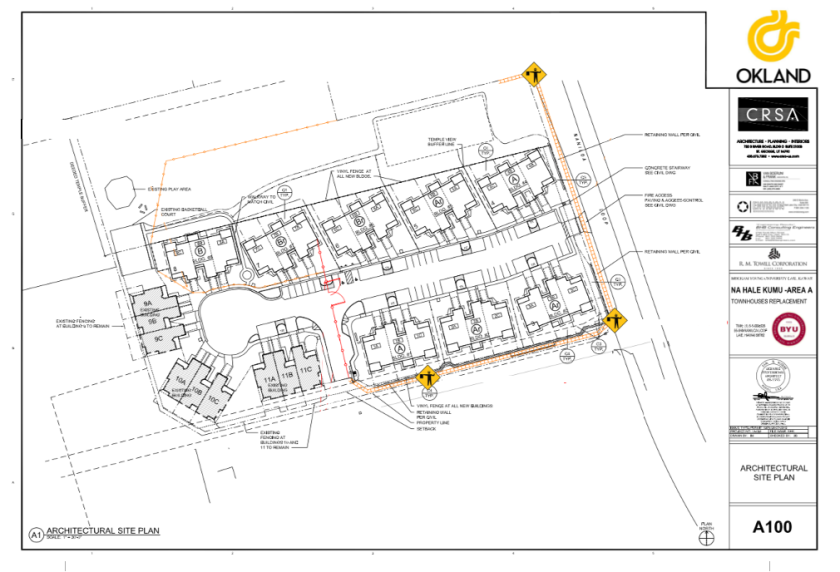 A drawn map of Na Hale Kumu Area A. Naniloa Loop is on the right-hand side and the TVA entrance next to Townhouses is right below the Na Hale Kumu houses. Jersey barricades placement is marked along the TVA entrance next to Townhouses and Naniloa Loop. The orange mesh fence placement is marked in the back yard and in front of Townhouse building 7 and 8. The construction fence panels removal is marked from the general entrance to the front porch of the Townhouse building 7.