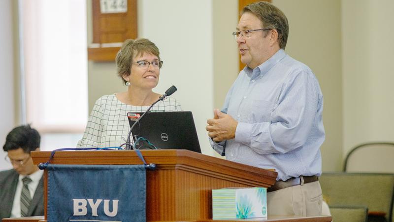 Steve and Marla Lundgren speak at the Heber J. Grant Building on May 30.