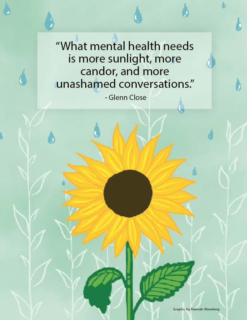 "Graphic of sunflower with an illustration of leaves and rain in the background with the quote ""What mental health needs is more sunlight, more candor, and more unashamed conversations. - Glenn Close"""