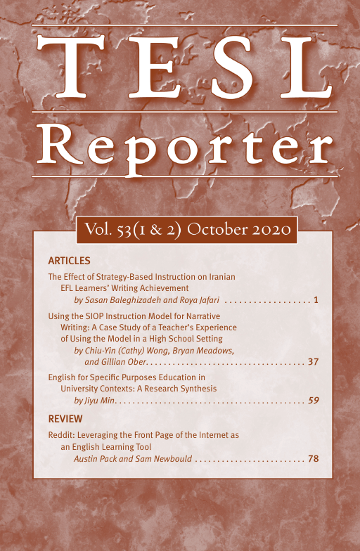 This is an image of the TESL Reporter cover page for Vol. 53 (1 & 2) October 2020. It lists articles and a review that are listed below and in the document.