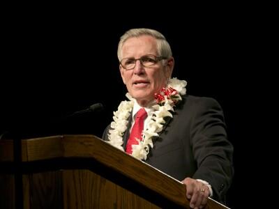 President Wheelwright speaking at devotional
