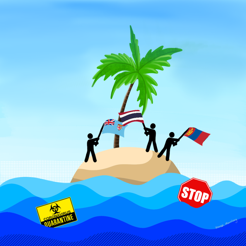 A graphic of three people waving flags on an island with a stop sign and a coronavirus warning sign floating in the water around the island.