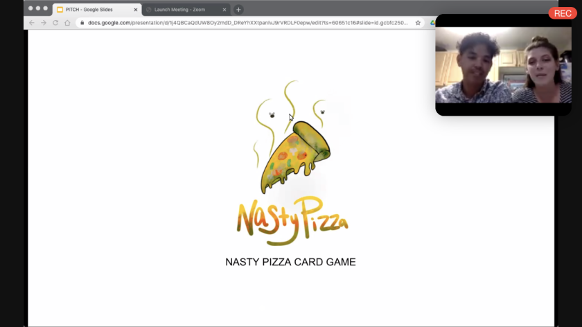 """Screenshot of a Zoom presentation with a logo of a bad-smelling pizza and the words """"Nasty Pizza, Nasty Pizza card game"""" with a screen on the top right of Sarah and Emilio Valenciano speaking."""