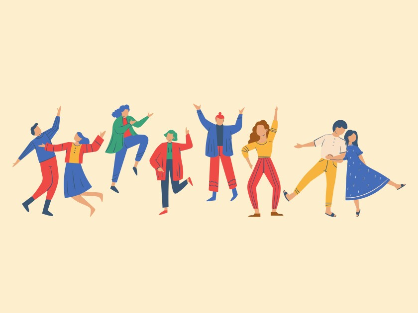 Graphic of men and women wearing orange/red, yellow, blue and green modest clothing  dancing and jumping around with an off-white background.