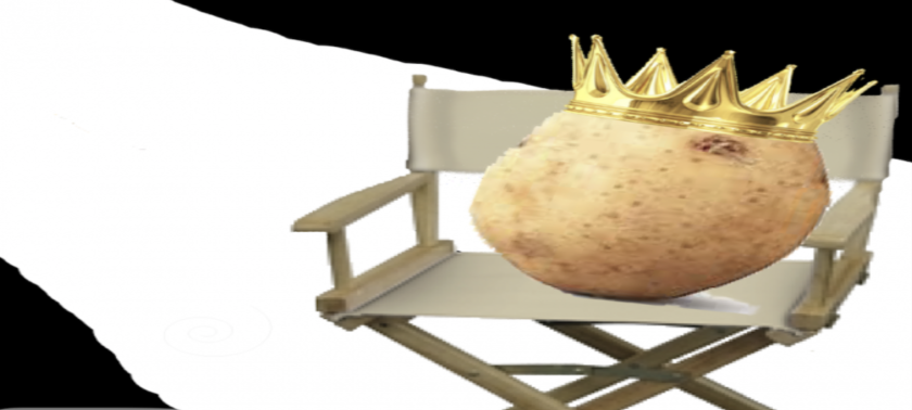 Illustration of a potato with a golden crown sitting in a director's chair