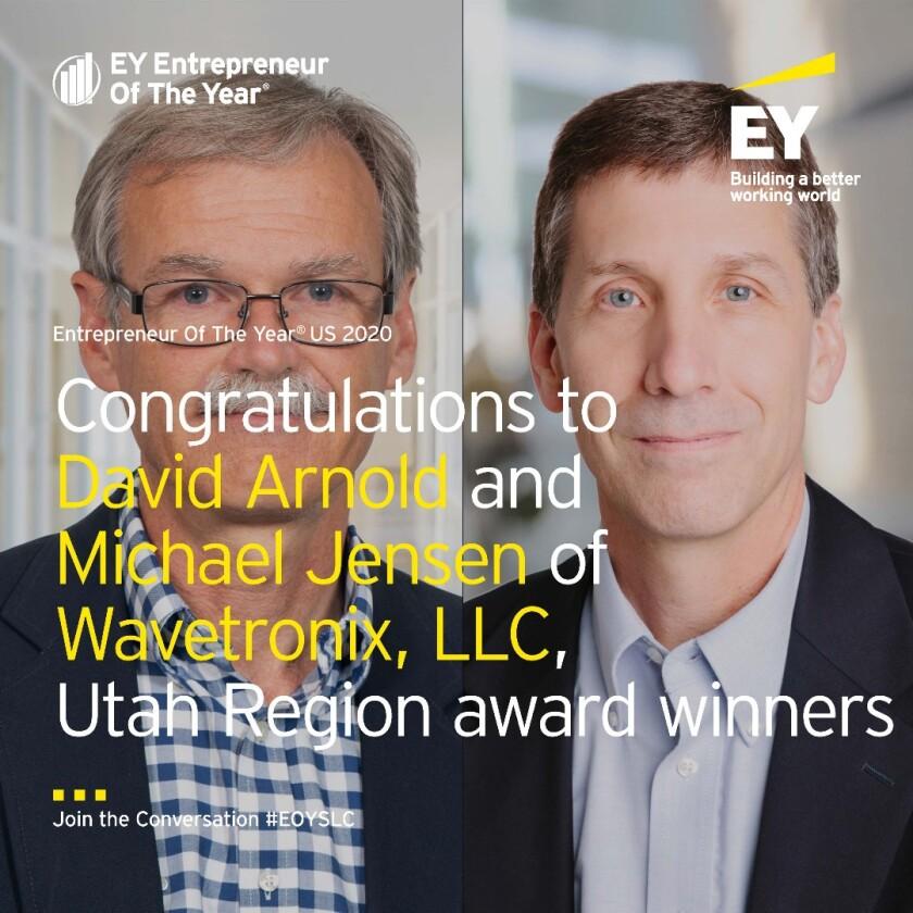 David Arnold and Michael Jensen of Wavetronix won the 2020 Utah Region Entrepreneur of the Year award.