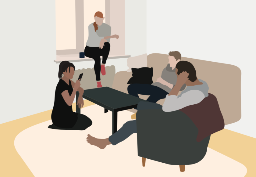 A graphic of students sitting around a coffee table.