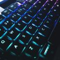 Photo of keyboard with blue backlights