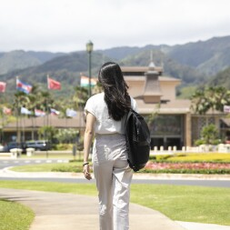 BYUH Student Walking on Campus