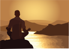 Gold and brown graphic of man meditating on rock with lake and mountains in background.