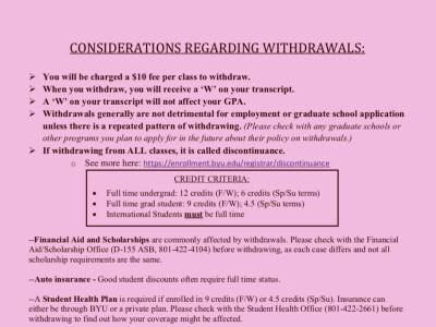 Withdrawal Considerations
