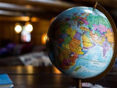 A globe replica of the earth.