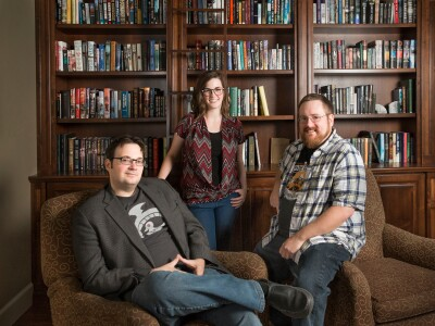 Authors Brandon Sanderson, Charlie Holmberg, and Brian McClellan