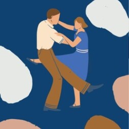 An illustration of a couple dancing together