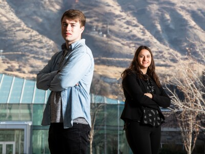 BYU students posed in front of the BYU library