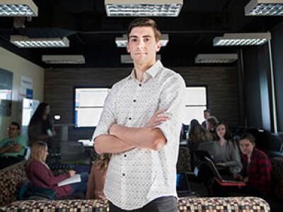 Adam Durfee in the lab