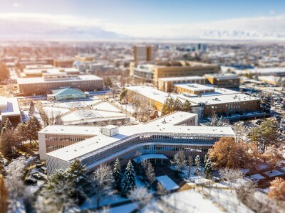 An aerial view of the BYU campus