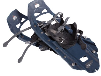 Blue pair of snowshoes