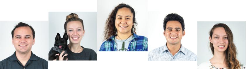 McKaylah Conlin, Melina Sy, Irvin Orduno, Kyle Mullins and Naina Tai Hook pose for self-portraits